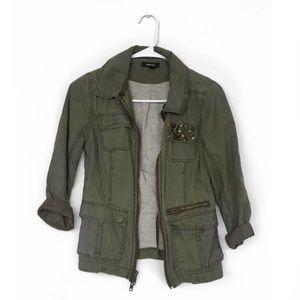 EXPRESS Green Cargo Jacket w/ Gold Embellishments